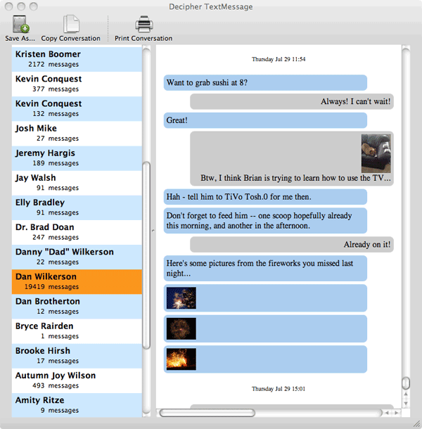 A Screenshot of the Decipher TextMessage software